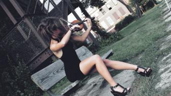 музыка, - другое, девушка, скрипка, скамейка, растения, улица