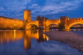 castelvecchio e l&, 180, adige,  verona,  veneto, города, верона , италия, мост, река