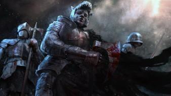 фэнтези, люди, кровь, оружие, броня, воин, взгляд