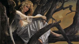 фэнтези, ангелы, арт, крылья, ангел, дерево, женщина
