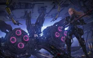 фэнтези, роботы,  киборги,  механизмы, фантастика, девушка, робот, блондинка, ружье, киборг