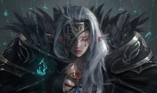 фэнтези, эльфы, магия, девушка, эльф, wlop, аниме, воин, броня, dungeon, and, fighter