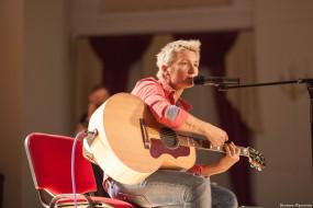 женщина, певица, гитара, микрофон