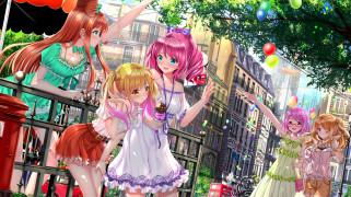 аниме, город,  улицы,  здания, aikatsu, stars