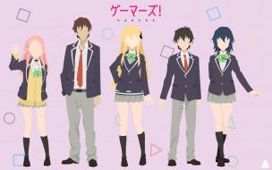 аниме, gamers, девушки, фон, взгляд