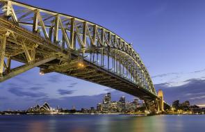sydney lights - australia, города, сидней , австралия, мост, бухта