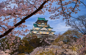 osaka castle in japan, города, осака , Япония, простор