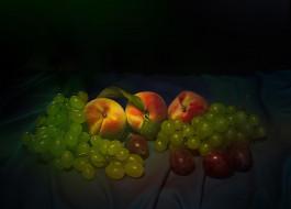 еда, фрукты,  ягоды, виноград, персики, десерт