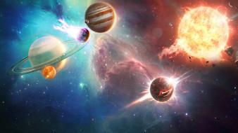 планеты, вселенная, галактика, звезды, звезды