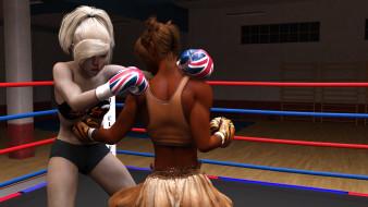 обои для рабочего стола 1920x1080 3д графика, спорт , sport, взгляд, девушки, бокс, фон, ринг