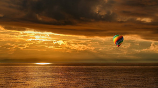 берингово море, воздушный шар, Евгений Паршуков, тучи, свет, закат, лето, камчатка