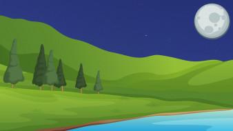 векторная графика, природа , nature, деревья, горы