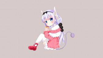 аниме, miss kobayashi`s dragon maid, фон, взгляд, девушка