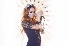 Марина Максимова, рыжая, микрофон, рыженькая, певица, милая, волосы, красивая, девушка, стиль, МакSим