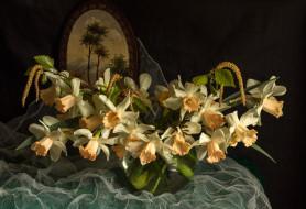 ткань, ваза, цветы, нарциссы, картина