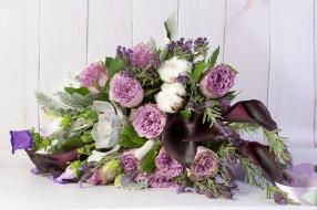 обои для рабочего стола 3000x1997 цветы, букеты,  композиции, каллы, розы, ваза, хлопок, ленты, букет