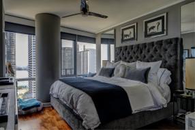 спальня, дизайн, кровать, декор, картины