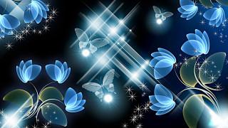 бабочки, цветы, фон