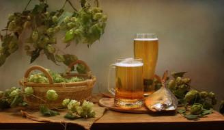 обои для рабочего стола 2708x1571 еда, напитки,  пиво, вомер, рыба, сентябрь, корзина, осень, пиво, хмель, натюрморт