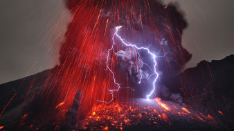 огонь, стихия, гроза, лава, дым, вулкан, молния, пепел