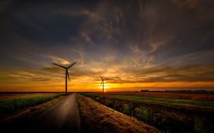 дорога, закат, ветряки