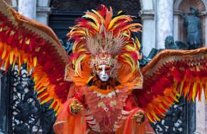 перья, красный, карнавал, маска, костюм, крылья