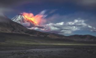 звезды, извержение, горы, небо, вулкан