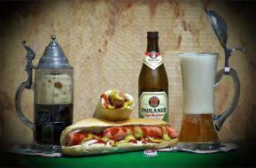 Пиво, хот дог, кружка, напиток, бутылка