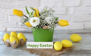 праздничные, пасха, easter, тюльпаны, tulips, букет, праздник, eggs, spring, happy, цветы