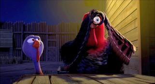 мультфильмы, free birds, индюк, частокол, ночь, двое, освещение
