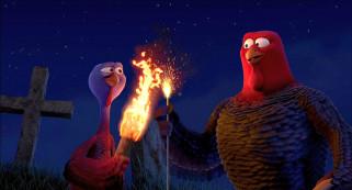 мультфильмы, free birds, ночь, индюк, двое, пламя, факел, птица, крест