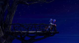 мультфильмы, free birds, двое, индюк, деревья, ночь, балкон