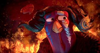 мультфильмы, free birds, птица, пламя, огонь, парик, индюк, лист