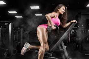 тренировки, поза, женщина, тренажерный зал, фитнес