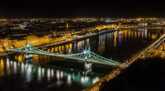 budapest,  liberty bridge, города, будапешт , венгрия, огни, река, мост, ночь