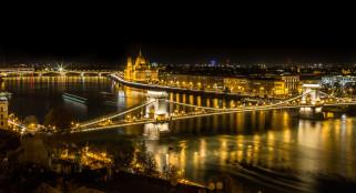 budapest,  chain bridge & hungarian parliament, города, будапешт , венгрия, ночь, мост, река, огни