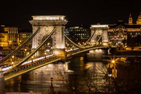 budapest,  chain bridge, города, будапешт , венгрия, огни, река, мост, ночь