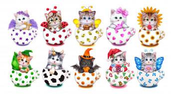 рисованное, животные, арт, котята, рисунок, детская