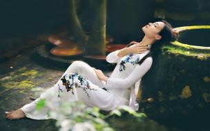 девушки, -unsort , азиатки, лицо, стиль, поза, модель, платье