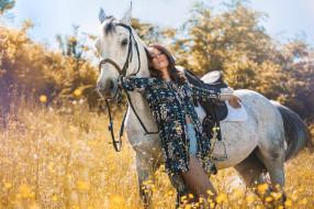 девушки, -unsort , брюнетки, темноволосые, шорты, брюнетка, девушка, лето, лошадь, цветы, конь, рубашка, природа
