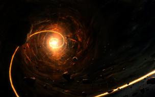 свет, пространство, спираль, астероиды