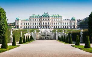 города, - дворцы,  замки,  крепости, газон, vienna, скульптуры, австрия, дизайн, дворец, фонтаны, кусты, деревья