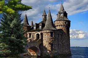 города, - дворцы,  замки,  крепости, остров, харт-айленд, heart, island, 1000, островов, boldt, castle, деревья, замок, ели, река, пейзаж, башни, thousand, islands, болдт