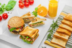 еда, бутерброды,  гамбургеры,  канапе, бутерброд, сок, салат, сыр, сэндвич, помидор, розмарин, мята