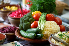 еда, овощи, лук, огурцы, помидоры, брокколи, капуста, томаты