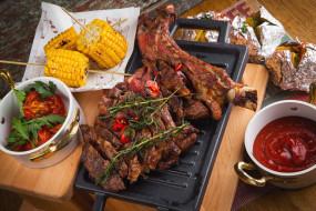 еда, мясные блюда, кукуруза, мясо, специи, соус