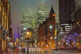 gooderham building, города, торонто , канада, ночь, авеню