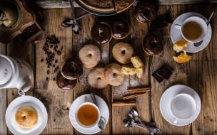 еда, разное, глазурь, кофейные, зерна, шоколад, пончики, корица, пирог, чай, выпечка, сахарная, пудра