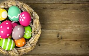 colorful, eggs, happy, wood, spring, Easter, holiday, яйца, Пасха