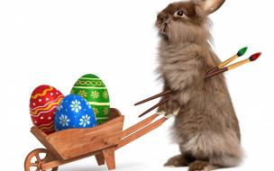 праздничные, пасха, holidays, easter, тележка, яйца, крашенные, кисточки, кролик, rabbits